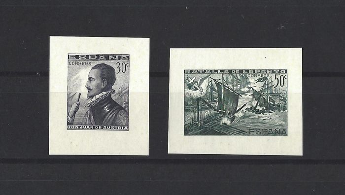Spanien 1938 - Stamps from Lepanto imperforated miniature sheets - Edifil SH 864/65