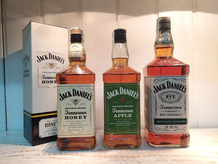 Jack Daniel's Honey - Apple - Rye - 1L, 70cl - 3 flessen