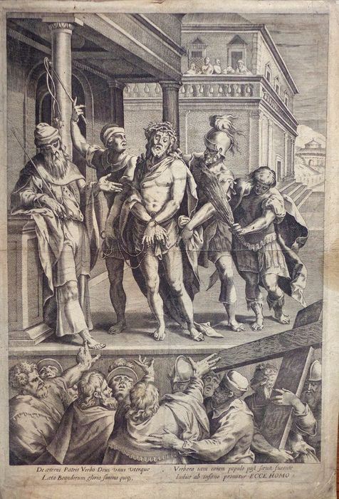 Cornelis Cort (1538-1578) after, Etienne Dupérac (1535-1604) after, Anonymous. - Ecce Homo, Christ shown to the people. Very large engraving.