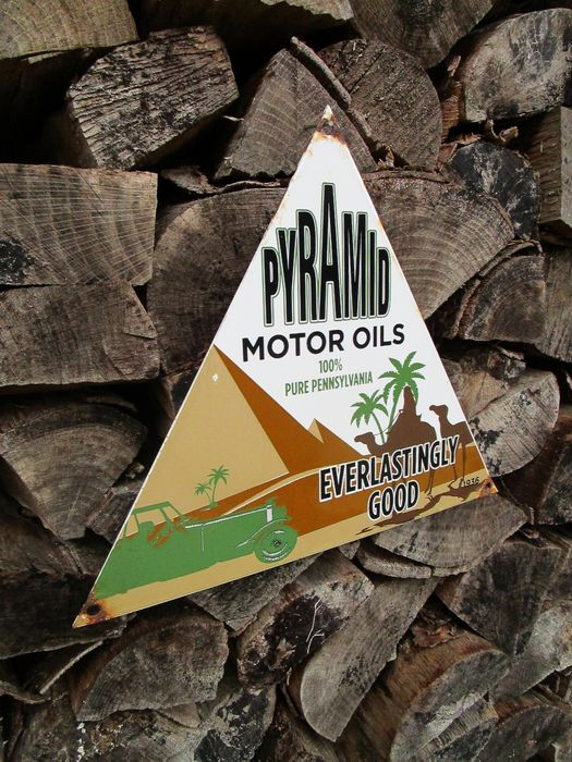 Decoratief object - Emaille PYRAMID motor Oils reclamebord - PYRAMID - 1930-1940