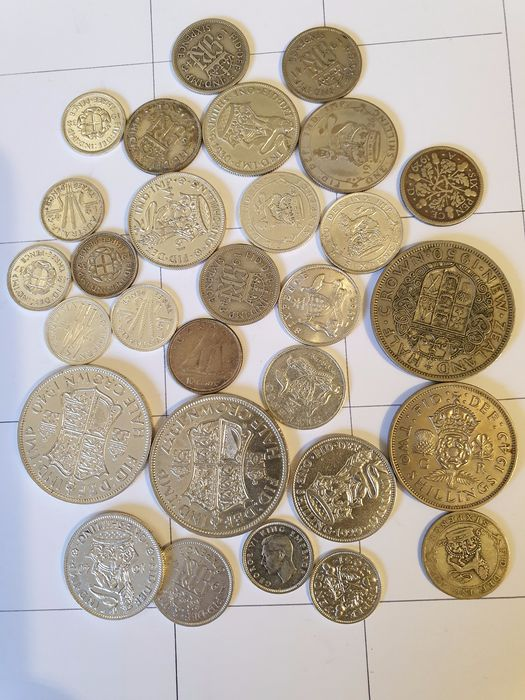 United Kingdom. 3 Pence up to and including 1/2 Crown 1929/1950 (29 pieces) most silver