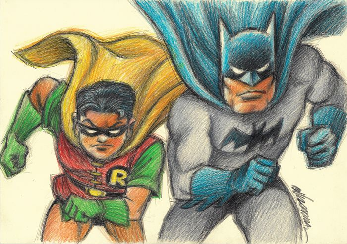 Batman & Robin - Original drawing by Joan Vizcarra