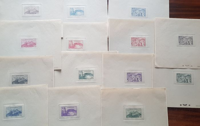Italy 1946 - Fezzan Ghadames - 15 luxury print proofs, imperforate values without gum - Sassone 20,21,22,23,24,25,26,27,28,28,30,31,32,33,34