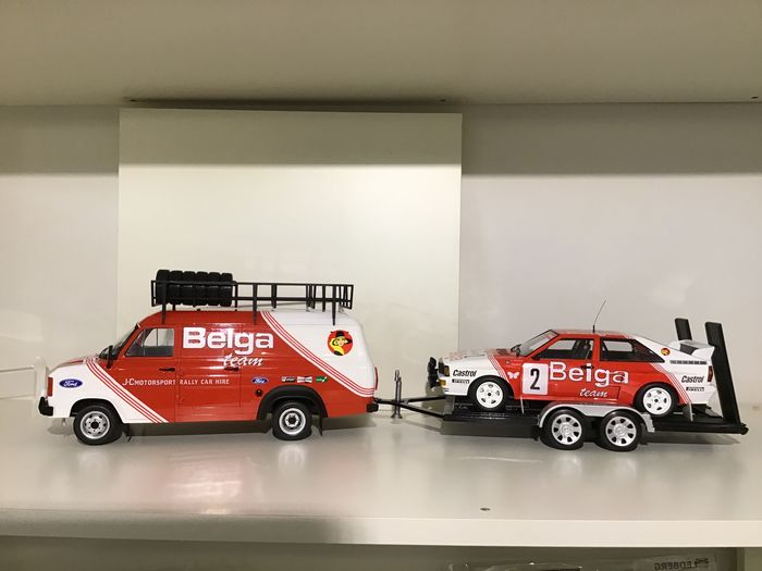 Divers - 1:18 - Rally Set - 1979 Ford Transit + Audi Quattro Winner Rally Spa '85 - Waldegaard/Thorszelius + Trailer