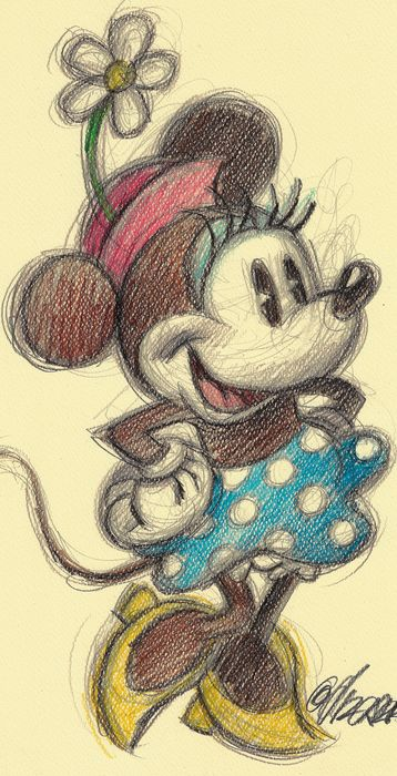 Vintage Minnie Mouse - Original Drawing - Joan Vizcarra