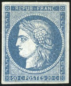 "Frankreich - Ceres, 1849-1850 - 20 centimes blue on azure, know as ""Astruc"" - very lovely - Behr certificate - Yvert 8b"