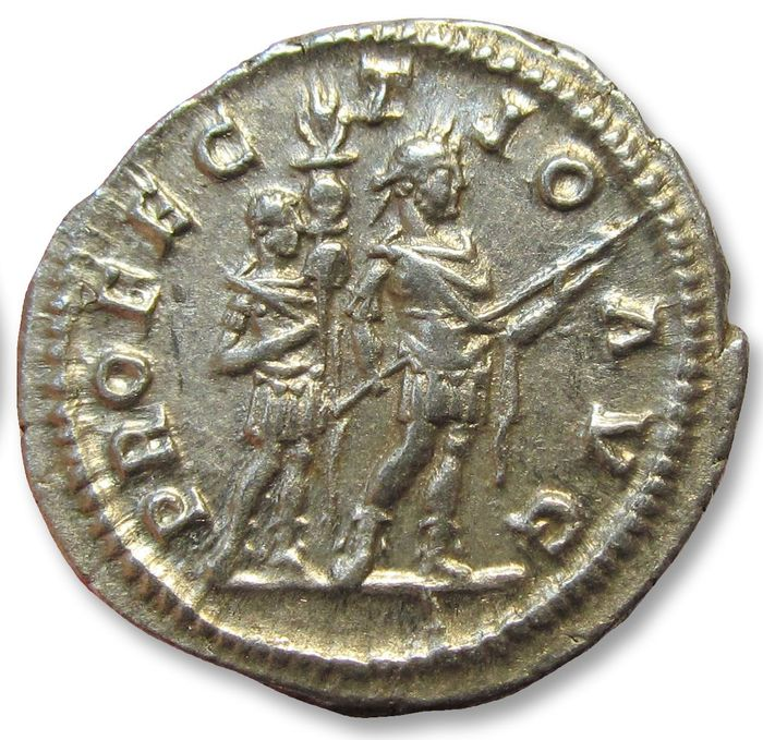 Romeinse Rijk. Caracalla (198-217 n.Chr.). AR Denarius,  Rome mint AD 210- 213 - PROFECTIO AVG, sharply struck example of this type -