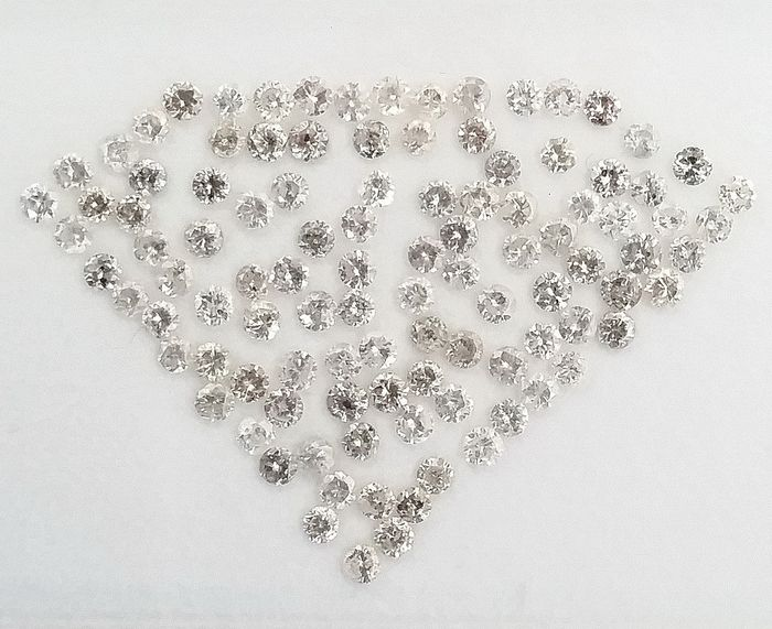 105 pcs Diamants - 3.18 ct - Rond - F, G, H - I1, I2, I3 (piqué), SI1, SI2, ***No Reserve Price***