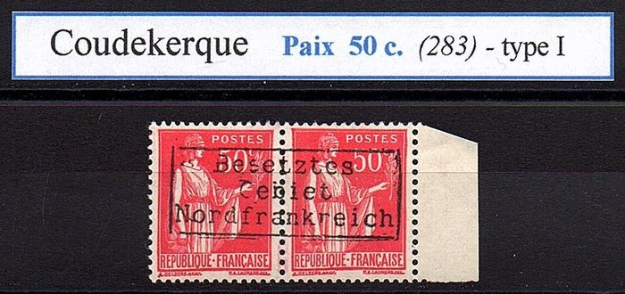 France - World War II (1939-1945) - COUDEKERQUE - No. 10 I **, Peace 50 centimes red (rare: 400 specimen - Maury 2017