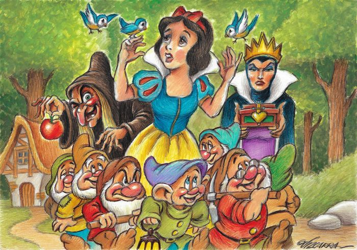 Snow White and the Seven Dwarfs - Original Drawing - 50 x 35 cm - Joan Vizcarra
