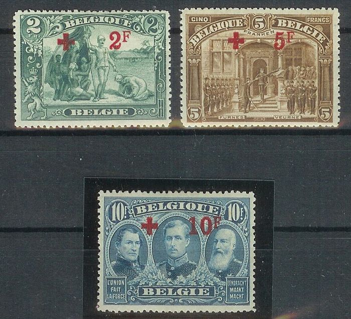Belgien 1918 - The three top denominations from the Red Cross series - OBP / COB 161-162-163