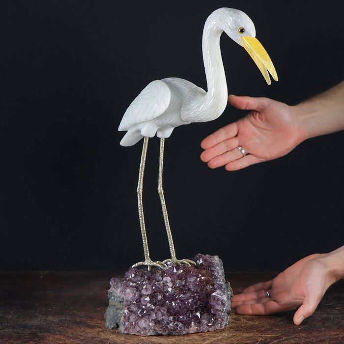 Amethyst Druse With Quartz Carved Heron - 465×290×190 mm - 6300 g
