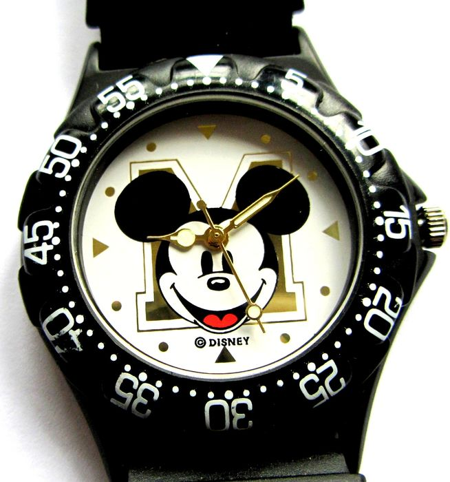 "Mickey Mouse - Unisex USA Import 36mm Midsize Black Plastic ""Tag F1 Homage"" ""Mickey Sport"" Qtz Wrist Watch, NOS"