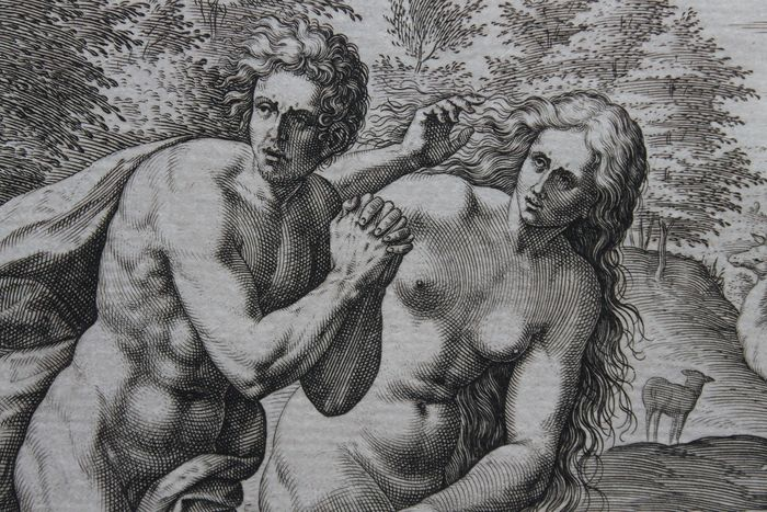 After Crispijn van den Broeck (1524-1589 by Jan Sadeler (1550-1600) - The Expulsion of Adam and Eve from Paradise.