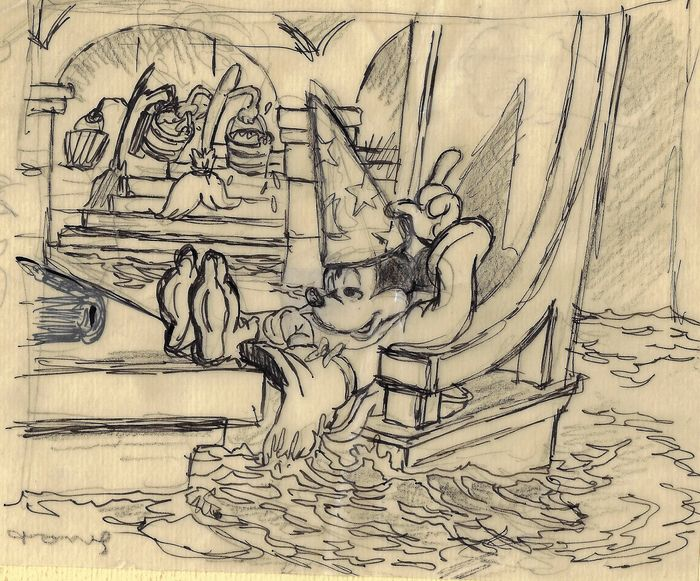 "Mickey Mouse ""The Sorcerer's Apprentice"" - Original Sketch - Tony Fernandez"