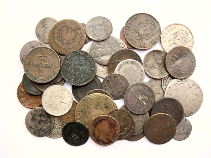 German States. Lot various coins ca. 1750/1870 (47 pieces) - including silver
