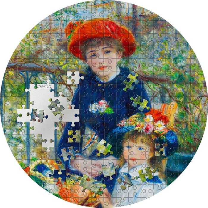 """Palau. 20 Dollars - 2020 - """"TWO SISTERS"""" - On The Terrace - Renoir - Micropuzzle Treasures - 3 Oz"""