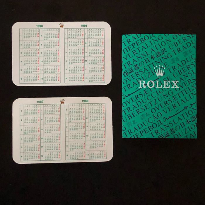 Rolex - 2 Vintage Calendars 1987/88 and 1990/91 and Translation booklet C.O.S.C. - 565.00.250.7.989 - Unisex - 1980-1989