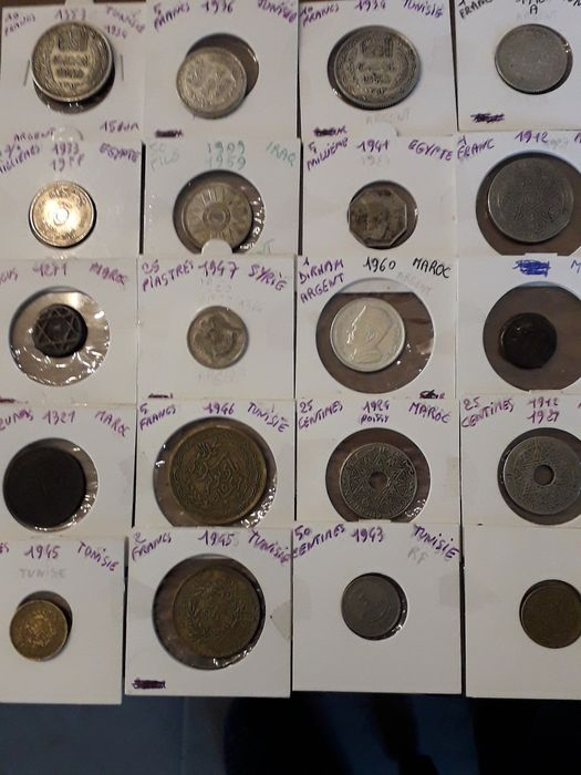Egypt, Morocco, Syria, Tunisia. Lot various coins 19th and 20th century (20 pieces) incl. silver