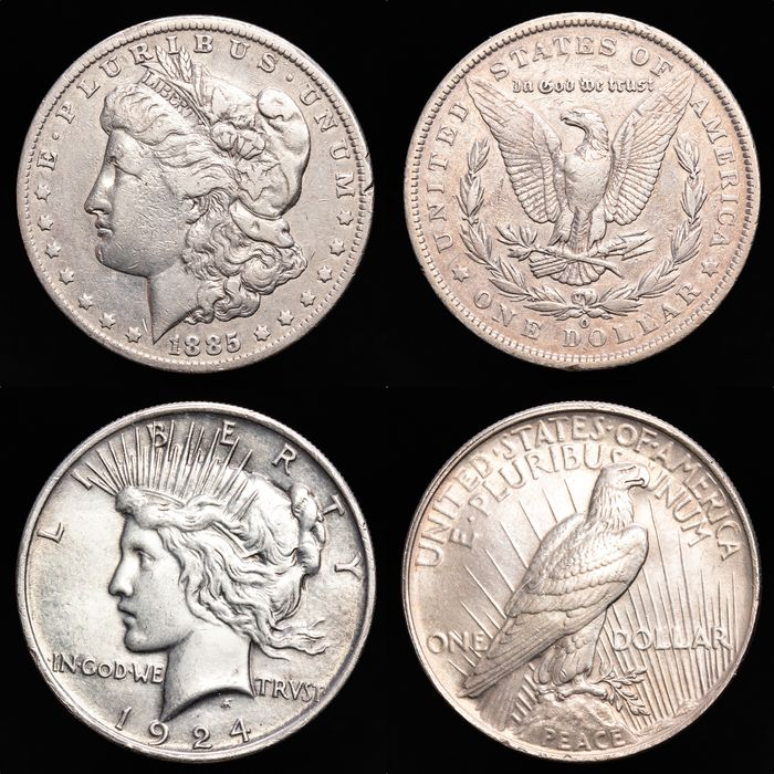 United States. Dollar (Morgan) 1885-O + Dollar (Peace) 1924 (2 monedas)