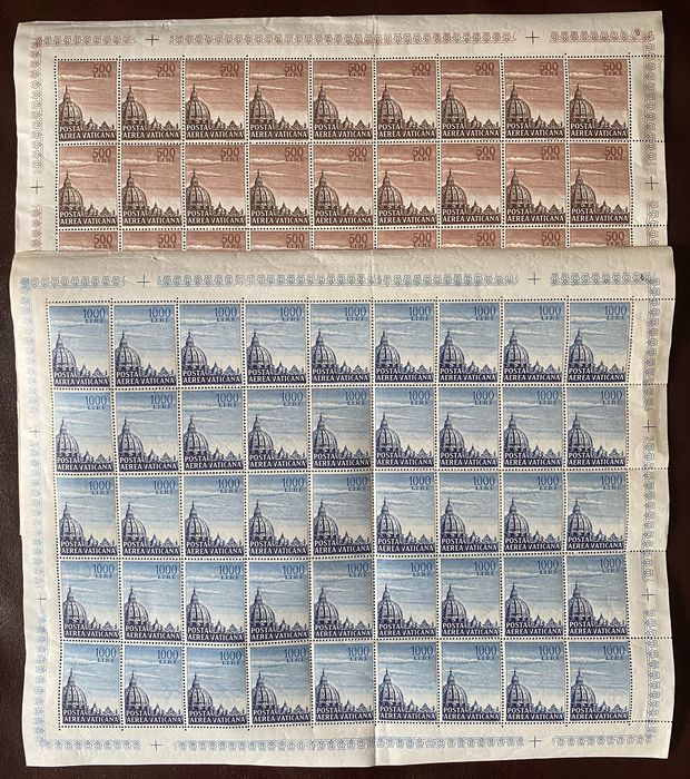 Vatican City 1953 - Dome of St. Peter's Basilica, airmail 2 values - Sassone PA 22/23