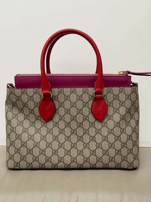 Gucci - Hibiscus Red/Pink GG Supreme Coated Canvas and Leather - Handtasche