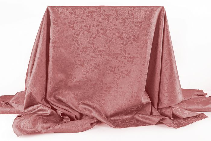 5.50 x 1.40 metres !!! Elegant  San Leucio lampas fabric with damask decorations old pink - Cotone, Resina/Poliestere - 21° secolo