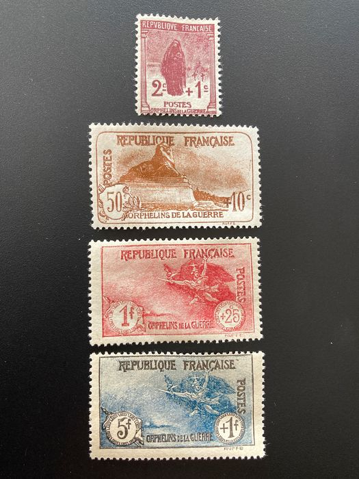France - 1923-1927 - War Orphans No. 229 to 232 signed Calves and Roumet - Yvert