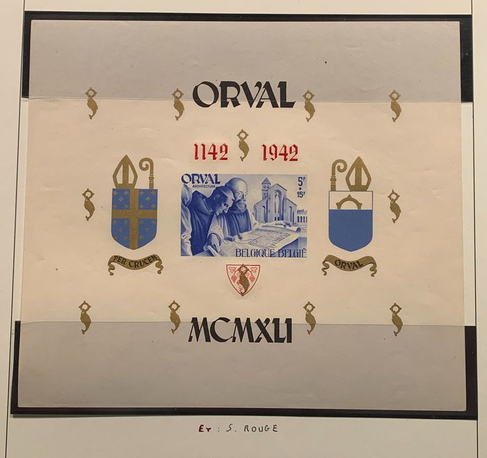 Belgium 1941 - Orval block - Large - Imperforate with curiosity 'red instead of blue overprint' - OBP / COB