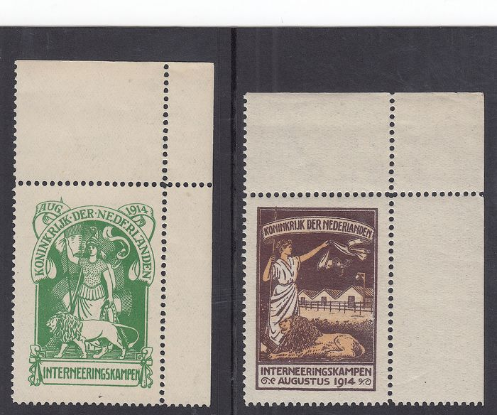 Pays-Bas 1916 - Internment camp stamps, corner pieces - NVPH IN1/IN2