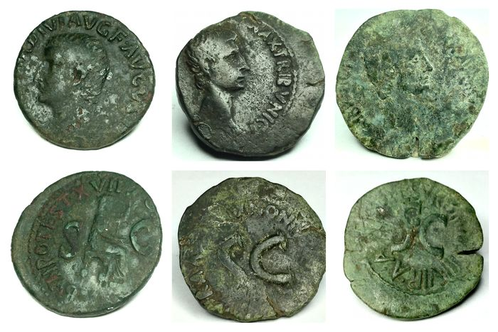Roman Empire. Lot of 3 Æ Asses,  incl.: Tiberius (AD 14-37) and Augustus (27 BC-AD 14)