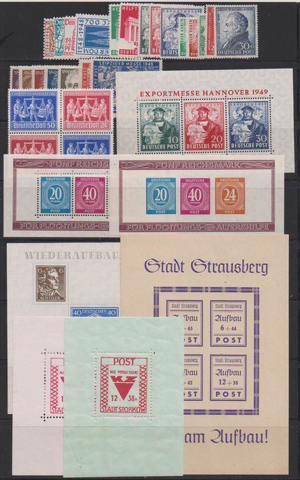 Occupation alliée - Allemagne 1945/1949 - Lot with different commemorative stamp sets and blocks