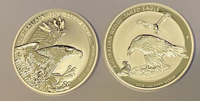 Australia. 1 Dollar 2018/2020  wedge tailed eagle - 2 X 1 Oz