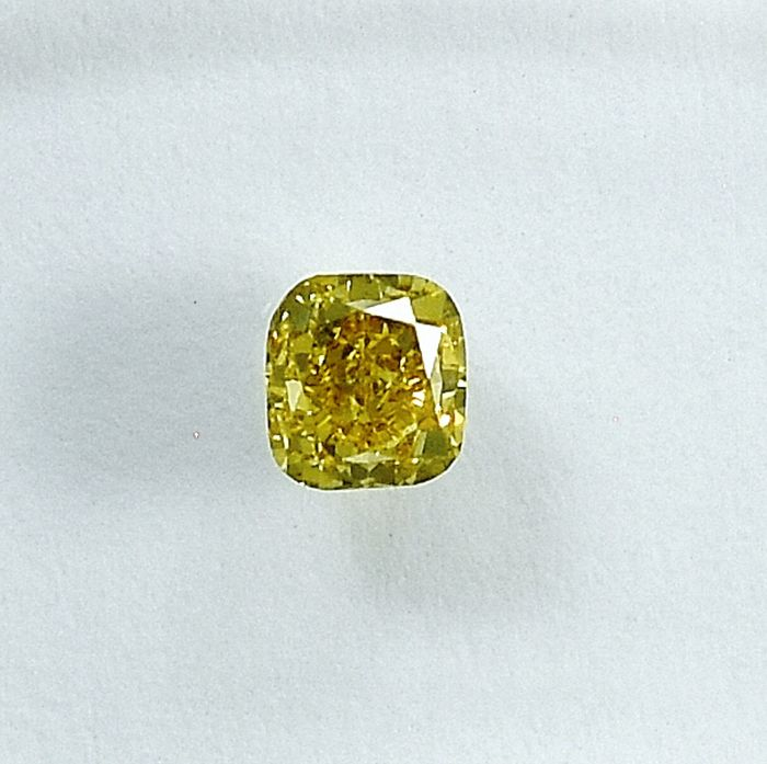Diamante - 0.22 ct - Cojín - Natural Fancy Intense Yellow - Si1 - NO RESERVE PRICE
