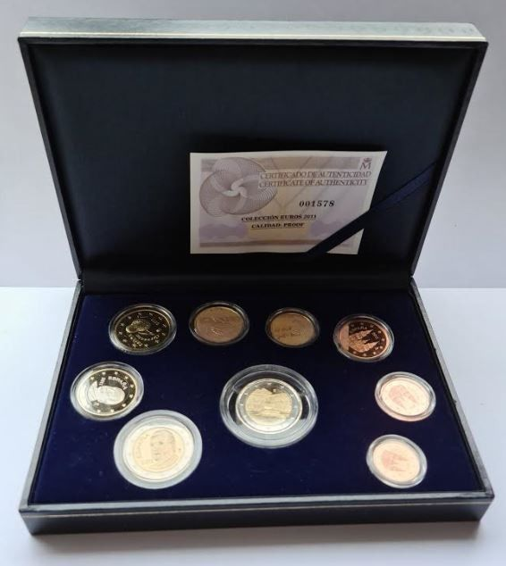 "Spain. Proof Set 2011 incl. 2 Euro ""Alhambra' in cassette"