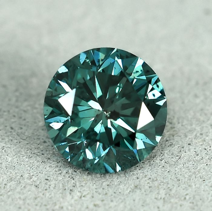 Diamond - 0.90 ct - brylantowy - Fancy Deep Bluish Green - I1 (z inkluzjami)