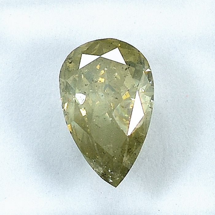 Diamante - 1.50 ct - Pera - Natural Fancy Light Grayish Yellow - I2 - NO RESERVE PRICE