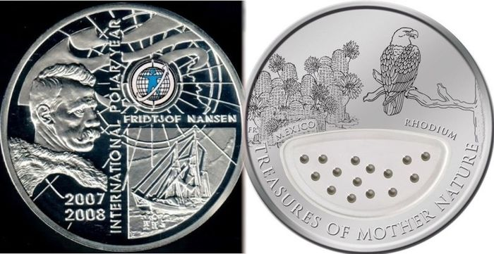 "Armenië, Fiji. 1 Dollar 2012 ""Mexico Rhodium"" and 100 Dram 2006 ""Polar Year""(2 coins)"