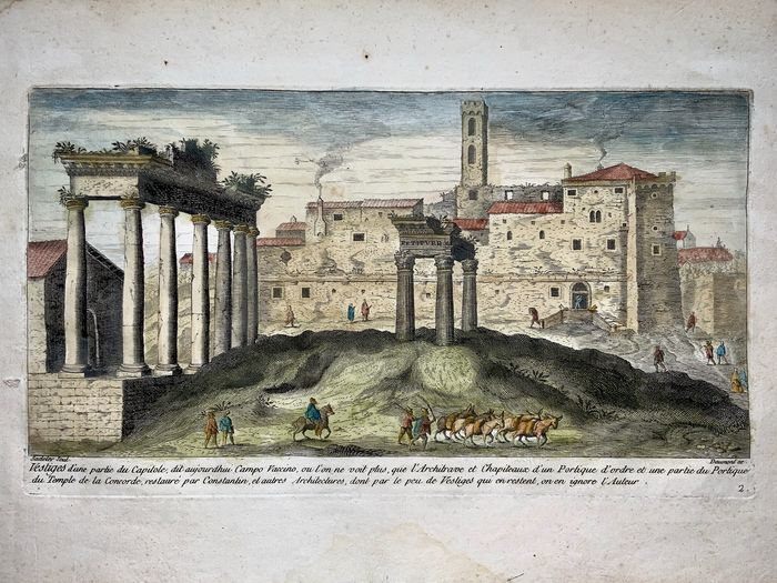 Marco Sadeler (1614 - 1660); Daumont ex - '... Campo Vaccino', Roman Forum, Rome - Rome, Italy - Rare French Edition c 1660