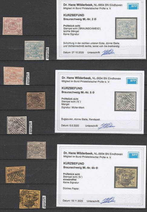 Brunswick 1852/1865 - complete collection 14 values, expertised by BPP - Michel 1 - 20