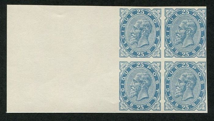 Belgium 1945 - Leopold II - Type 1883 - 25c light blue: reprint 'Eisenhower' in a block of four with sheet edge - OBP / COB 40 - herdruk 'Eisenhower' ongetand in blok van 4