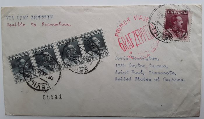 Espagne 1930 - Zeppelin document / first flight to South America / Seville to Pernambuco