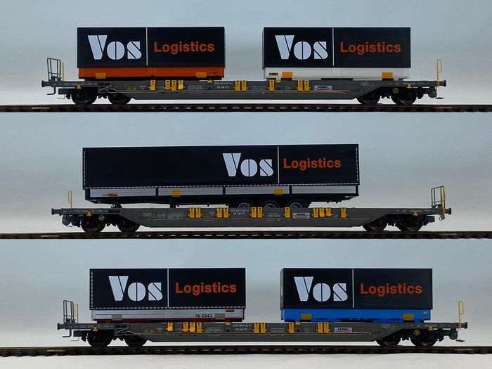 KombiModell H0 - 10381 - Freight carriage - 3 container carriers VOS Logistics - SBB, Hupac