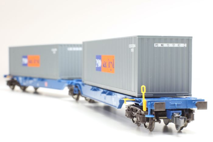 Roco H0 - 47104 - Goederenwagon - double container trucks type Sggmrs from P&O/Nedlloyd - DB
