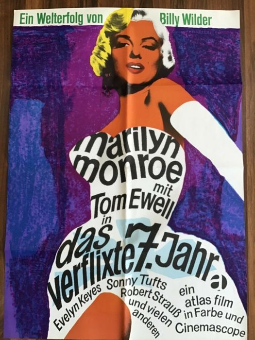 The Seven Year Itch (1955) - Marilyn Monroe - Poster, Original 1966 German Cinema re-release