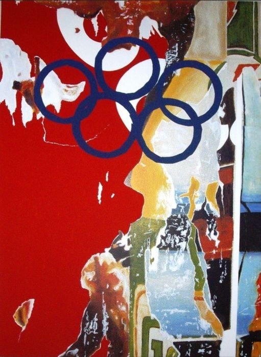 Mimmo Rotella (1918-2006) - Olympic Centennial 1992. Hand signed