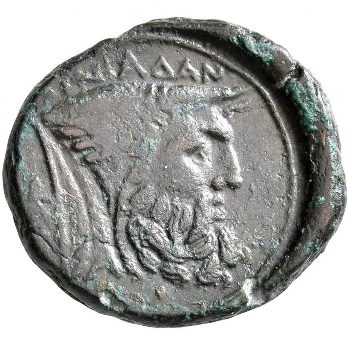 Akarnania, Oiniadai. Æ,  circa 219-211 BC - Attractive portrait of the man-headed bull