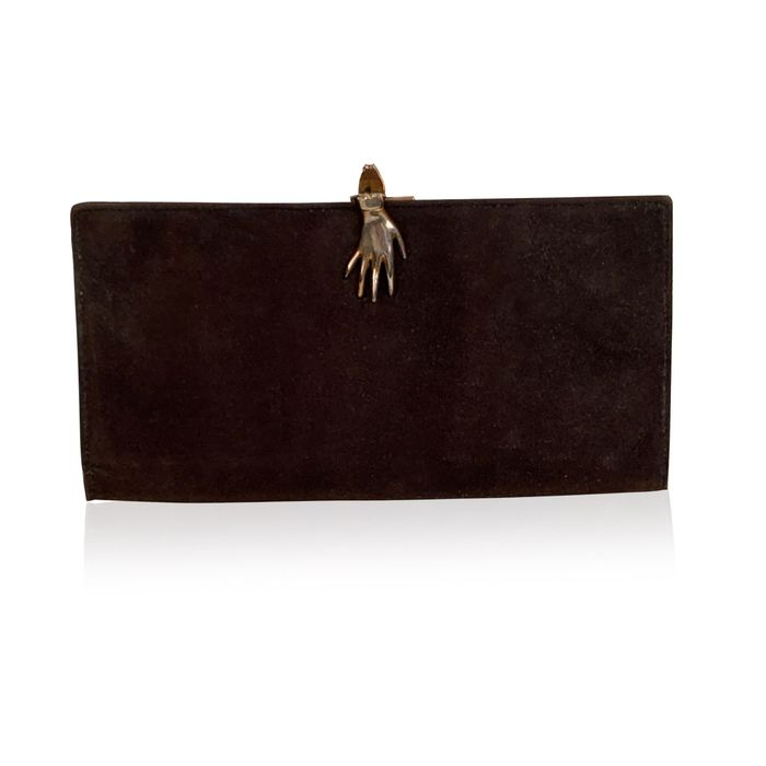 Gucci - Vintage Brown Suede Long Wallet with Hand Closure - Damen-Geldbörse
