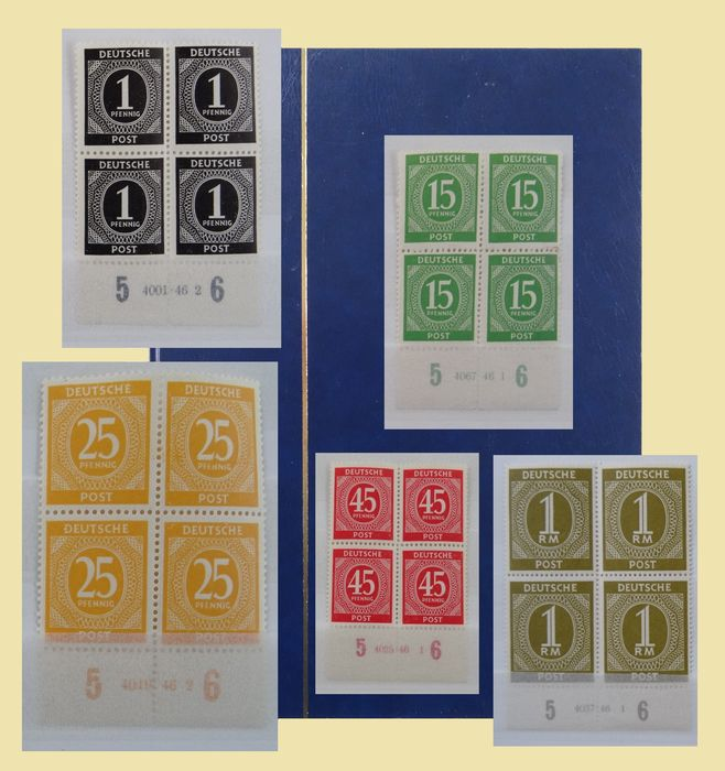 Occupation alliée - Allemagne 1946 - 'Kontrollrat I' - Collection of blocks of four with 65 various HAN numbers - Michel 911/937 HAN