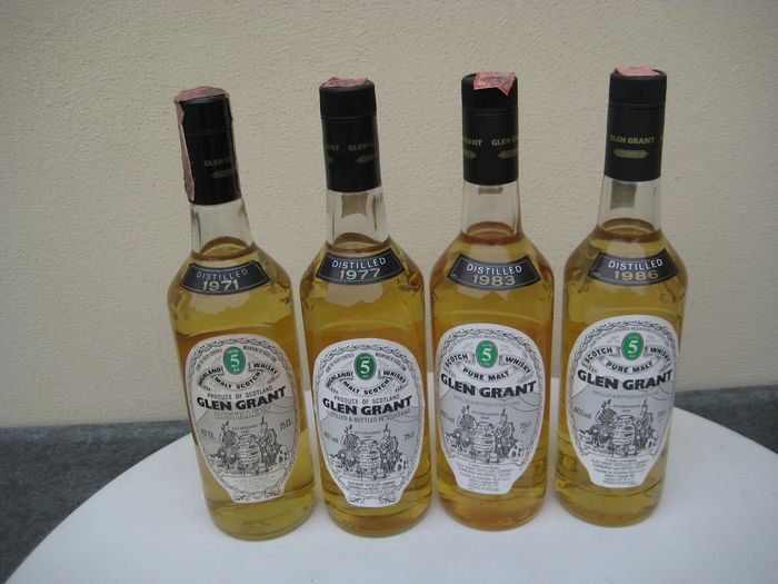 Glen Grant 1971 - 1977 - 1983 - 1986 - Original bottling - 70cl - 75cl - 4 bouteilles